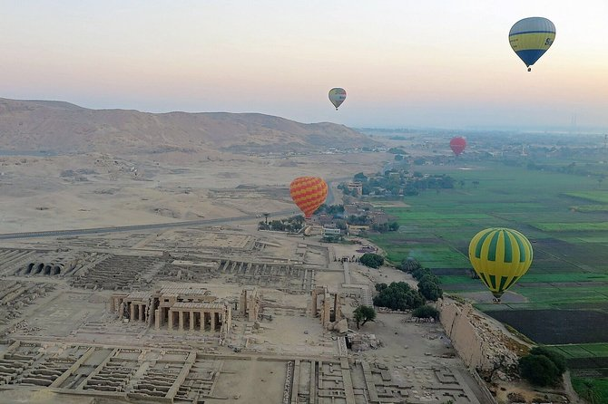 Hot air balloon above valley of the kings
