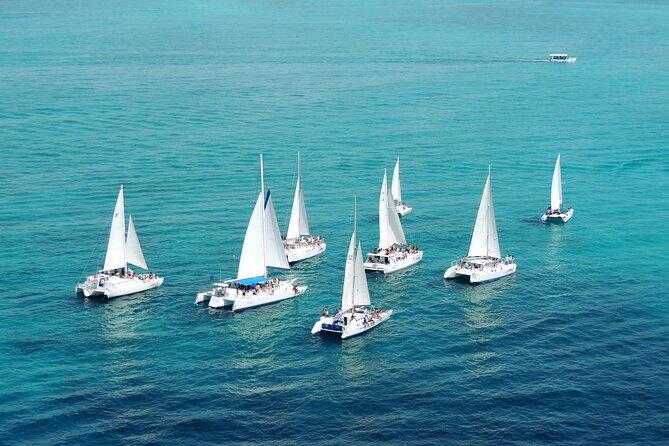 Sailing to isla mujeres in a catamaran