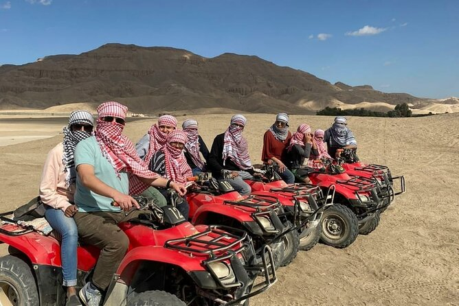 Sunset Desert Quad Bike Safari with Camel Ride and Bedouin Dinner From Hurghada