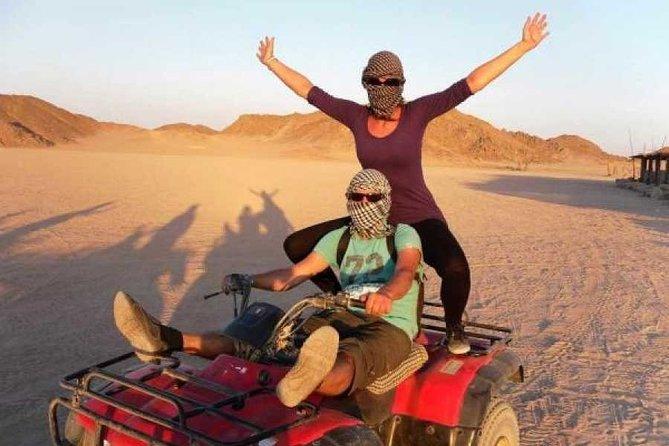 Sunset Desert Quad Bike Safari with Camel Ride and Bedouin Dinner From Hurghada