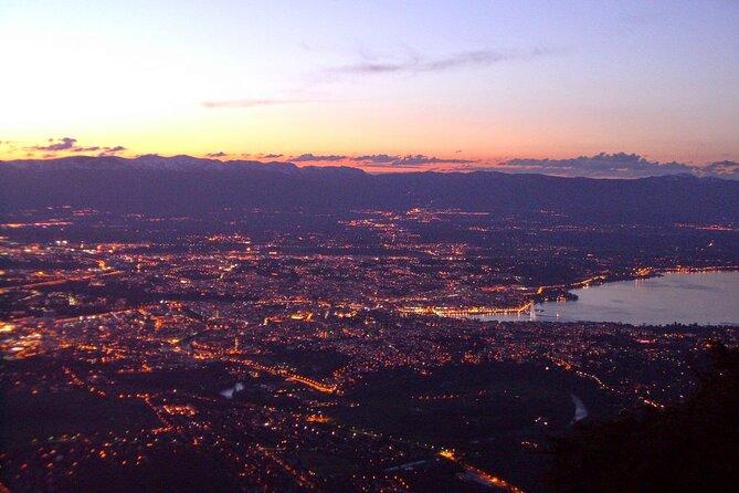 Panoramic sunset over Geneva and Lake Geneva