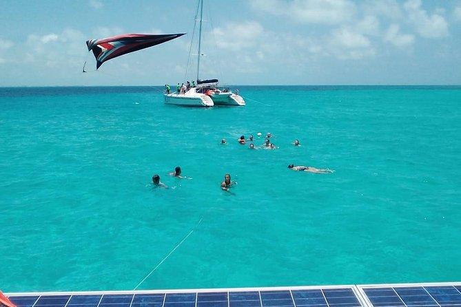 Tour Catamaran Sailing Isla Mujeres with Open Bar and Snorkel