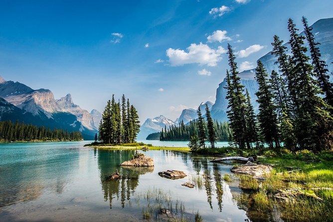 Parc national de Jasper: vallée de Maligne, lac Medicine et île Spirit Island