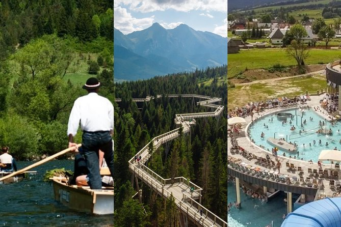 From Krakow: Dunajec Rafting, Treetop Walk & Thermal Baths