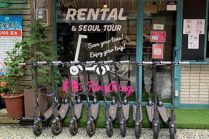 [RingRing 4 Hrs FOUR Palaces with HANBOK] Unmanned Guide E-scooters Riding Tour