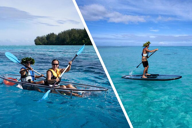 Eco excursion to the lagoon of Moorea in paddle and transparent kayak