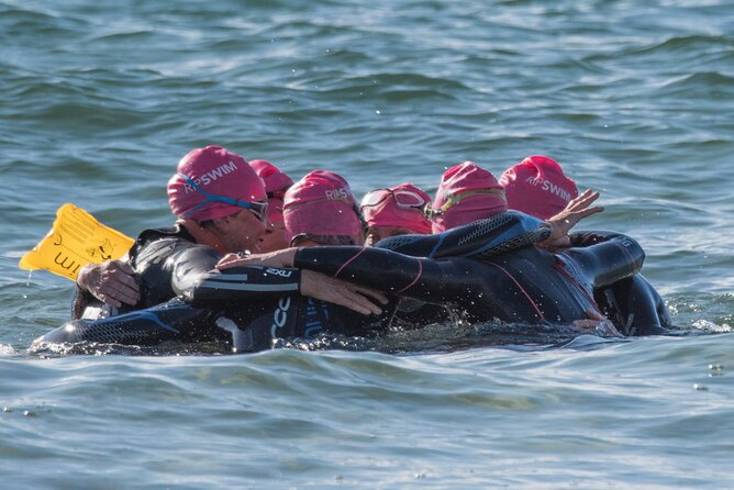 This is the ultimate team swim. Everyone stays together with their kayaker on the 3.2km crossing.