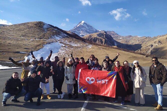 Day tour to mountains Jinvali lake, Ananuri, Kazbegi, Arch friendship