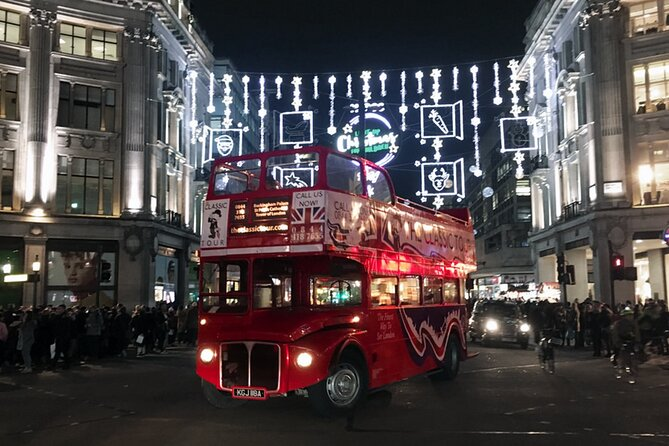 Christmas Light Experience of London on Vintage Open Top Routemaster