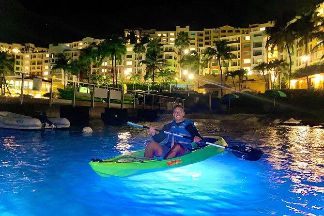 Illuminated Kayak After Dark – Departing Marriott's Frenchman's Cove Dock/Beach
