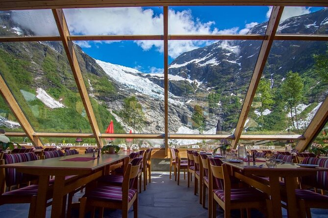 View to the Glaceir seen from restaurant Brevasshytta