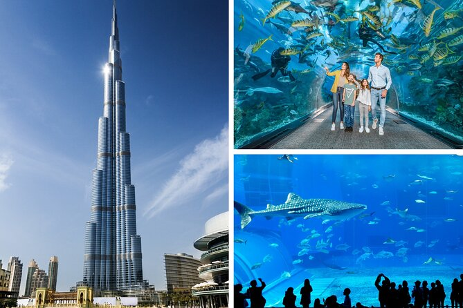 Burj Khalifa, Dubai aquarium and Underwater zoo Combo