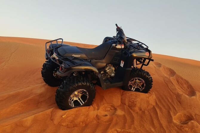 Dubai Desert Safari with ATV and Sandboarding Experience with BBQ Dinner