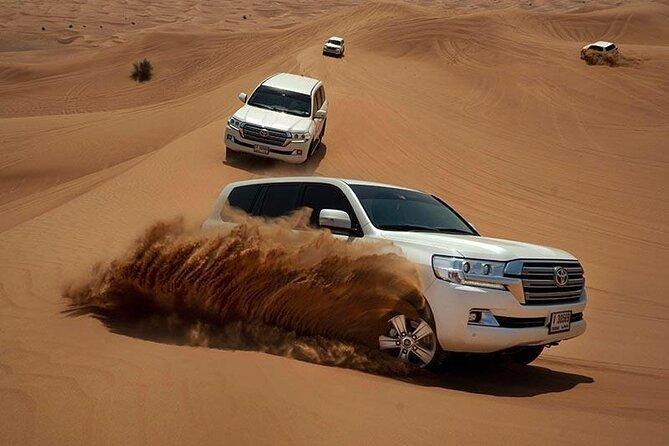 Dubai Evening Desert Safari With BBQ Dinner, Sand Board And Camel Ride