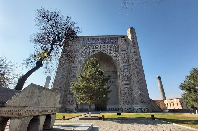 Bibi Khonum Mosque with a Quran stand at the yard