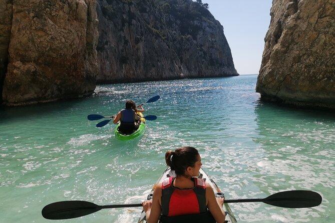 Kayak tour in Cala Granadella with snorkeling in Caló-Cova del Llop Mari