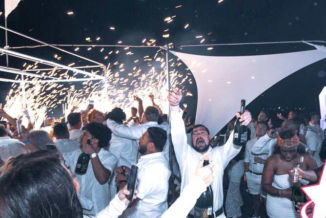 All white Night Rockstar Boat Party in Cancun