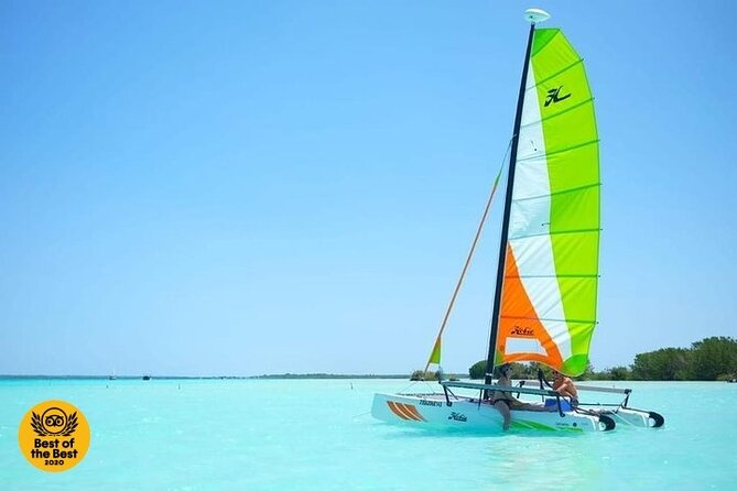 Bacalar sailing tour across the 7 color lagoon from Tulum