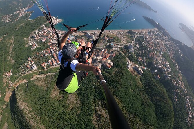 Tandem paragliding and Old Town Budva and Becici tour