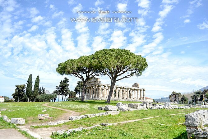 Ruins of Paestum with an archaeologist