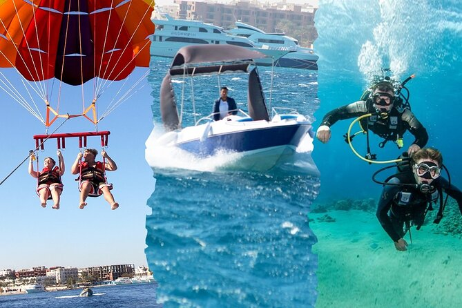 One Diving Stop 15 min & 7 min Parachute &2 Hours Speed Boat &Subwing-Hurghada