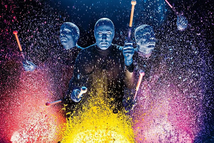 See the Blue Man Group at the Luxor Hotel and Casino in Las Vegas.