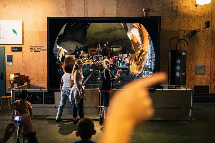 The Exploratorium's giant mirror exhibit. (Photo credit: Stephen Lam)