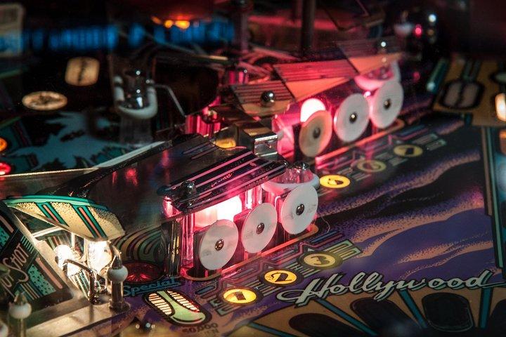 An up-close shot of a pinball machine