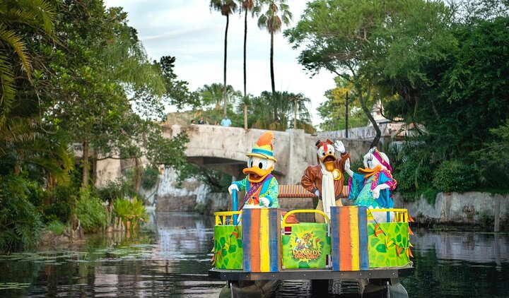 "Disney characters on ""Donald's Dino Bash!"" float at Disney's Animal Kingdom® Theme Park"