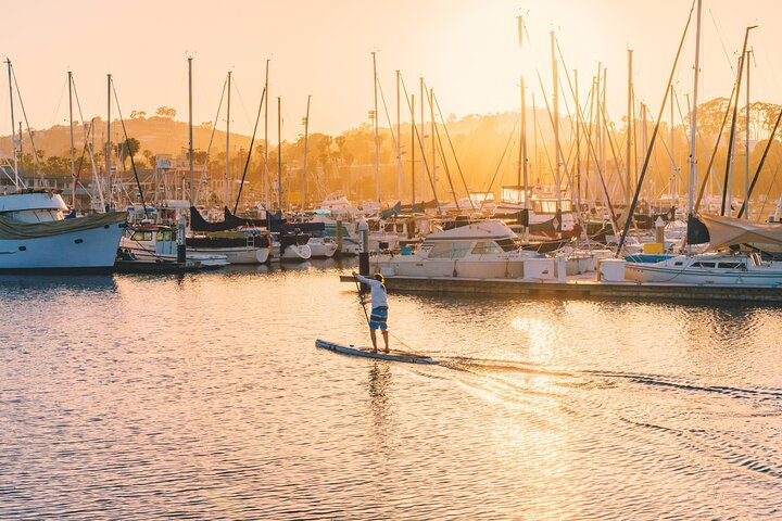 A person on a stand-up paddleboard (SUP) in Santa Barbara
