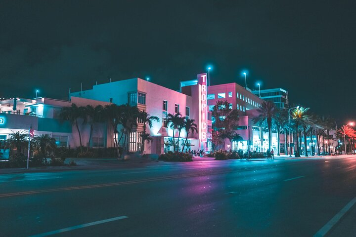 Neon signs and art deco buildings in Miami, Florida