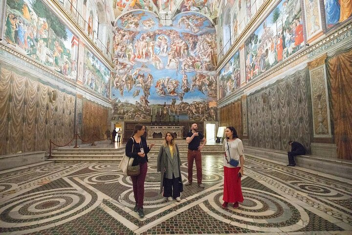 A small-group of travelers inside an empty Sistine Chapel, Vatican Museums