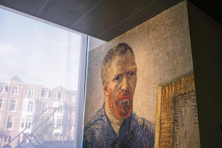 Vincent van Gogh self-portrait blown up on the wall at the Van Gogh Museum in Amsterdam