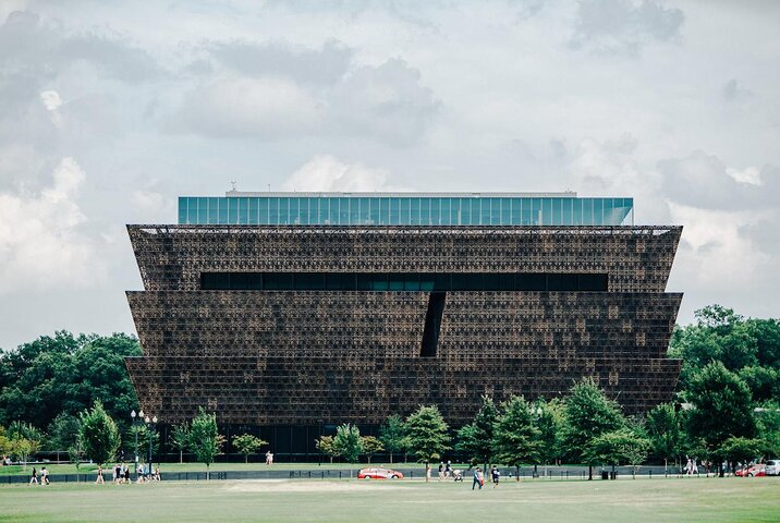 Exterior of the National Museum of African American History and Culture in Washington DC
