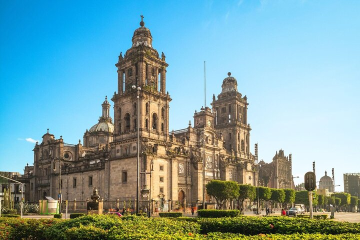 The Metropolitan Cathedral bathed in sunlight in Mexico City.