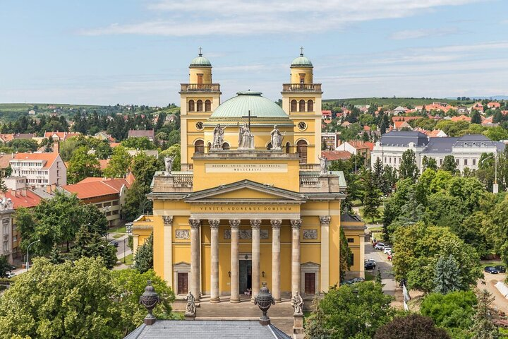 The yellow-colored basilica in Eger, northern Hungary.