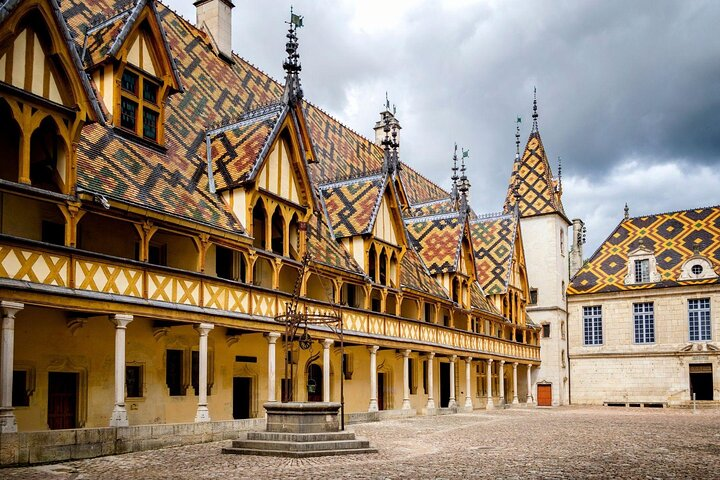 The courtyard of the Hospices de Beaune in Beaune, France.