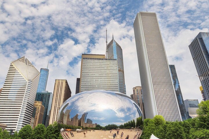 Buildings reflected in Anish Kapoor's Cloud Gate sculpture in Chicago.