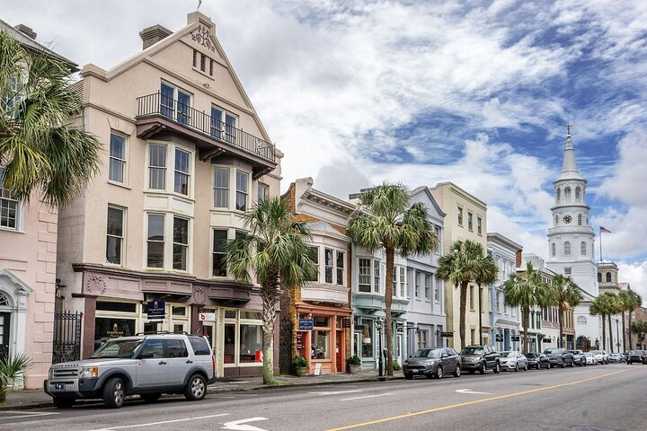 Pastel colored facades in downtown Charleston, South Carolina.