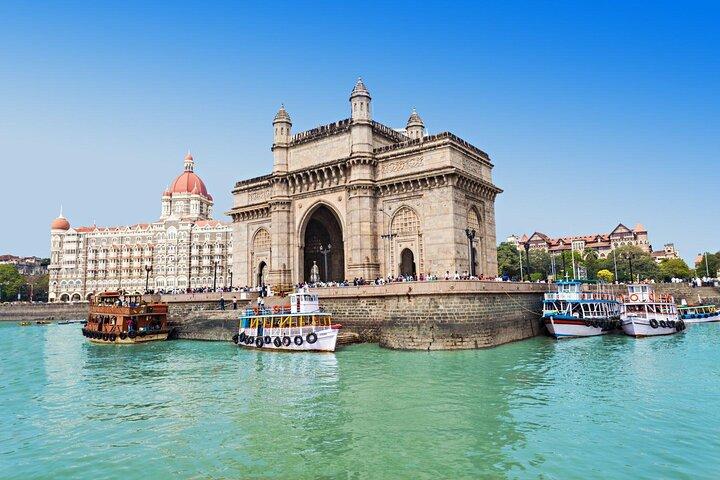The Taj Mahal Hotel and Gateway to India in Mumbai, India.