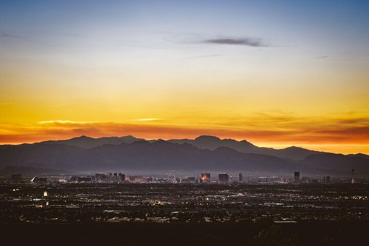 The sun sets over the Las Vegas Strip in Nevada, United States.