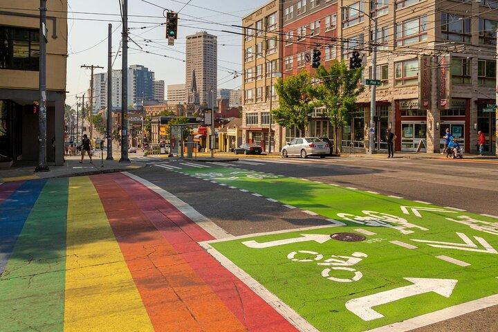 A rainbow crosswalk in Seattle, Washington, United States.