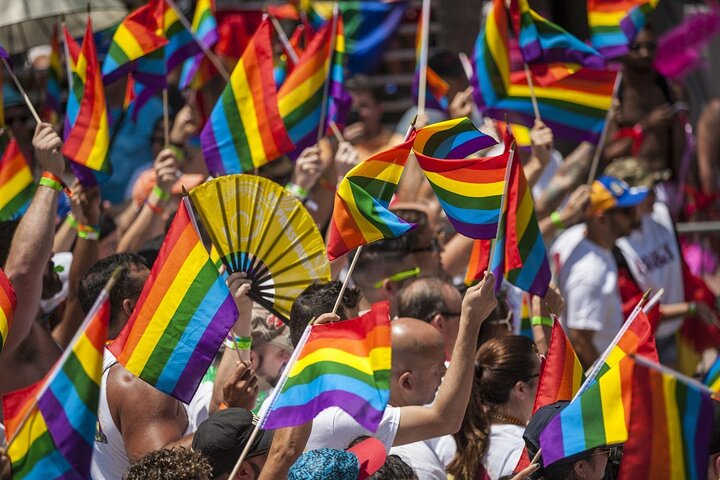 Crowd of people with rainbow flags watch the Pride parade in Florida.