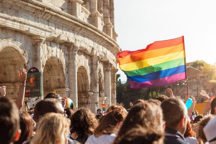 People take part in a Pride parade in Rome, Italy.