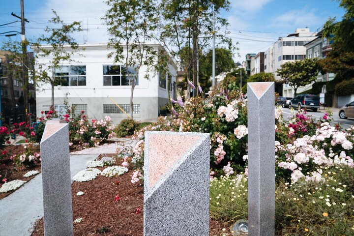 The Pink Triangle Memorial in the Castro, San Francisco.