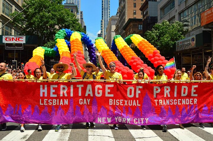 Heritage of Pride leads the 2017 Pride parade in NYC.