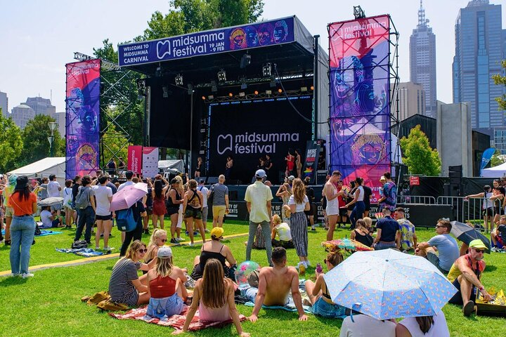 Concert goers wait for the music to start at Melbourne's Midsumma Festival.