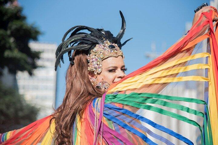 A participant walks down Avenida Paulista in São Paulo during Pride.