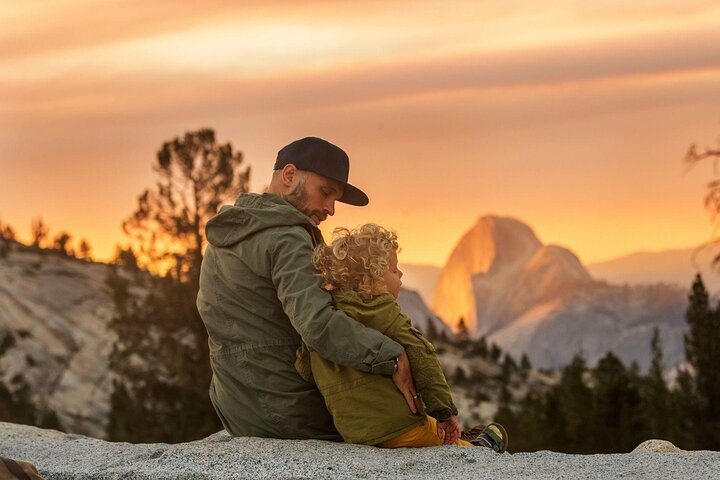 A boy and his dad admire the view; Things to do in Yosemite National Park.