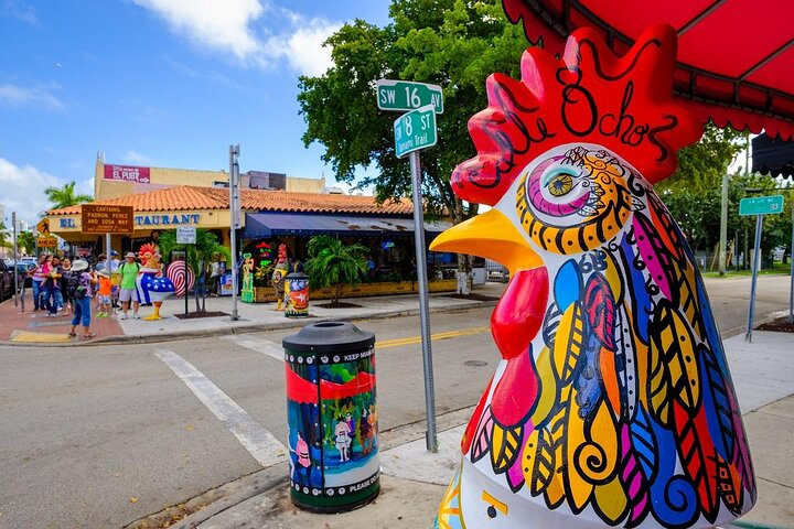 A statue of a rooster on Calle Ocho, Little Havana, Miami